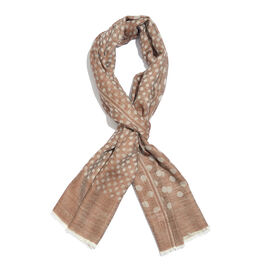 100% Cashmere Wool Chocolate and Grey Colour Polka Dots Pattern Scarf with Fringes  L200x W70 Cm