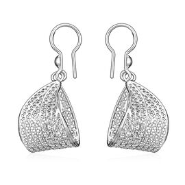 Royal Bali Open Work Folded Design Hook Earrings in Silver