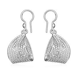 Royal Bali Collection - Sterling Silver Open Work Folded Design Hook Earrings