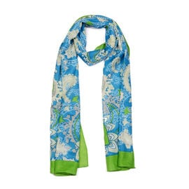 Jacquard Print Scarf (Size 180x50 Cm) - Blue and Green