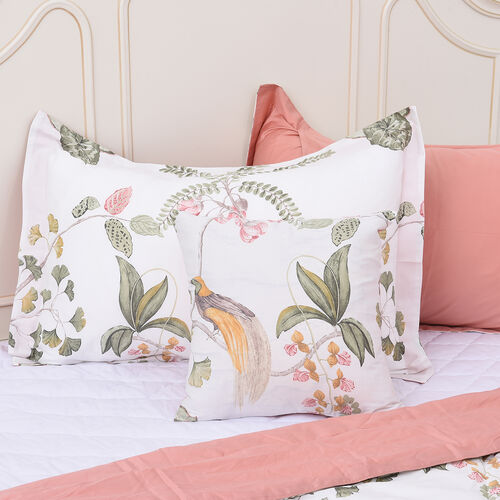 4 Piece Set - Tree and Bird Pattern 100% Mulberry Silk Filled Quilt with 100% Cotton Cover, 2 Pillow Cases and Cushion Cover (Size Double) - Opal Colour