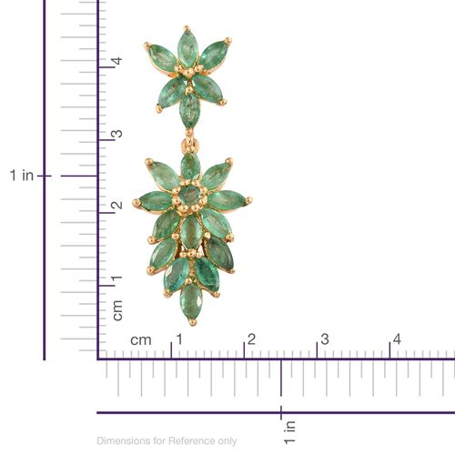 Limited Edition - Kagem Zambian Emerald (Mrq) Earrings (with Push Back) in 14K Gold Overlay Sterling Silver 5.000 Ct.