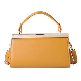 BOUTIQUE COLLECTION Yellow Clutch Bag with Detachable Shoulder Strap and Top Handle (Size 26x13x16 C