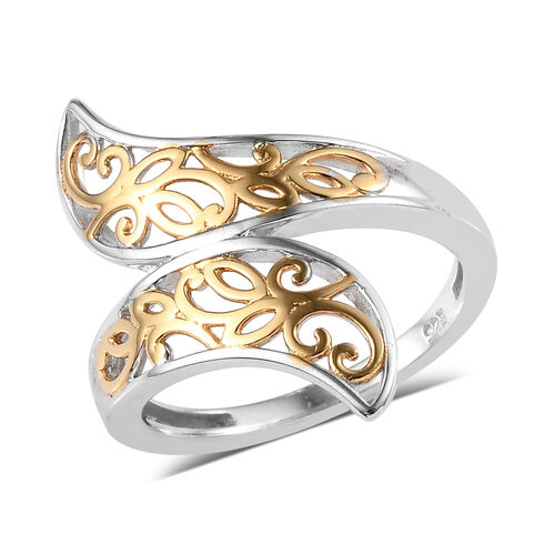 Filigree Cross Over Ring in Platinum and Yellow Gold Plated Sterling Silver