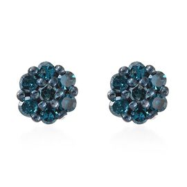 Blue Diamond (Rnd) Stud Earrings (with Push Back) in Blue and Platinum Overlay Sterling Silver 0.200 Ct.