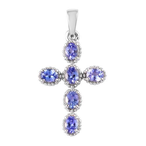 Tanzanite Cross Pendant in Platinum Overlay Sterling Silver 1.000  Ct.