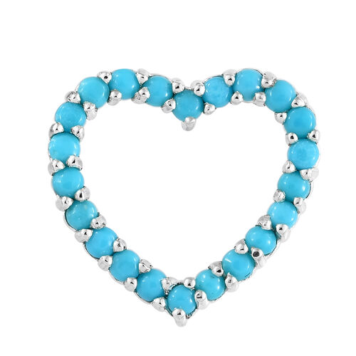 AA  Arizona Sleeping Beauty Turquoise (Rnd) Heart Pendant in Sterling Silver 1.000 Ct