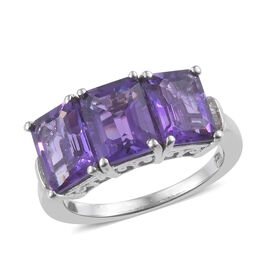 Zambian Amethyst (Oct), Diamond Ring in Platinum Overlay Sterling Silver 4.500 Ct.