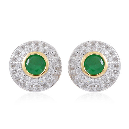 Limited Edition - 9K Yellow Gold AA Kagem Zambian Emerald (Rnd), Natural White Cambodian Zircon Earr