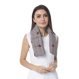 Brown, Red and Multi Colour Scarf with Red and Green Flower Embroidery and Chequer Base Pattern (Siz
