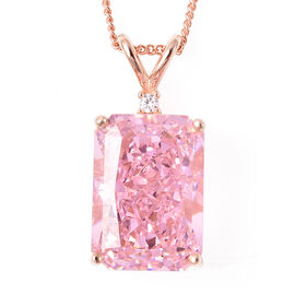 ELANZA Simulated Pink Sapphire and Simulated Diamond Pendant With Chain in Rose Gold Overlay Sterlin