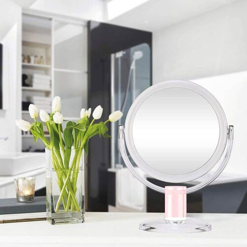 White, Rose Gold Handheld Hinge Mirror