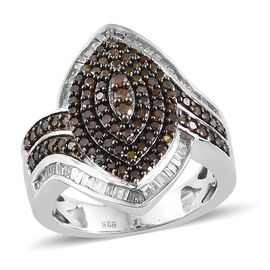 1 Carat Red and White Diamond Cluster Ring in Platinum Plated Sterling Silver