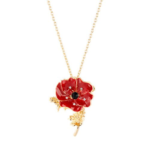 TJC Poppy Design - Black and White Austrian Crystal Red Colour Enameled Poppy Flower Brooch or Pendant With Chain (Size 20) in Yellow Plated