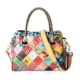 MOROCCO COLLECTION 100% Genuine Leather Multi Colour Blocking Tote Bag with External Zipper Pocket a