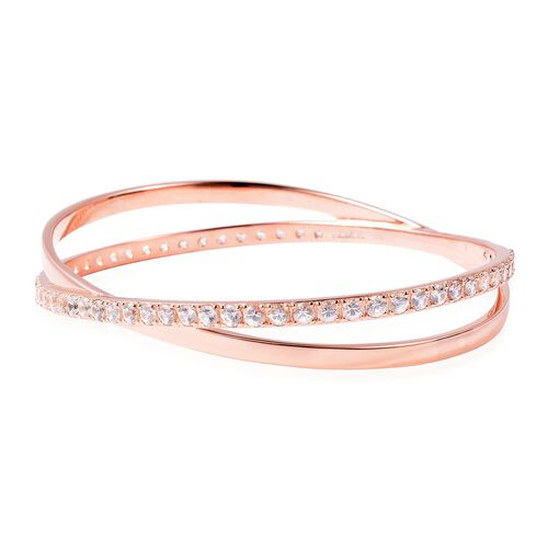 Isabella Liu Collection - Natural White Cambodian Zircon (Rnd) Bangle (Size 8) in Rose Gold Overlay Sterling Silver Silver Wt 21 Grams