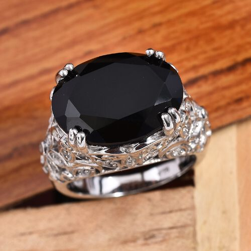 Natural Boi Ploi Black Spinel (Ovl 16x12 mm), Natural Cambodian Zircon Ring in Platinum Overlay Sterling Silver 10.75 Ct, Silver wt 7.08 Gms