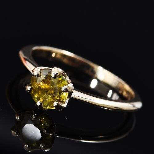 9K Yellow Gold AA Sava Sphene (Rnd 6 mm) Solitaire Ring 1.00 Ct.