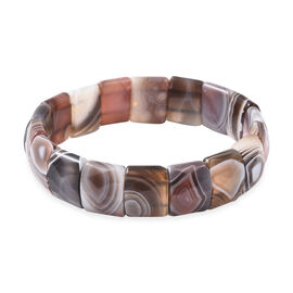 181.70 Ct Botswana Agate Stretchable Bracelet 7 Inch