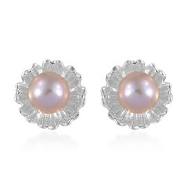 Designer Inspired - Fresh water Pink Pearl (Rnd 5 mm) Daisy Flower Stud Earrings (with Push Back) in Sterling Silver.