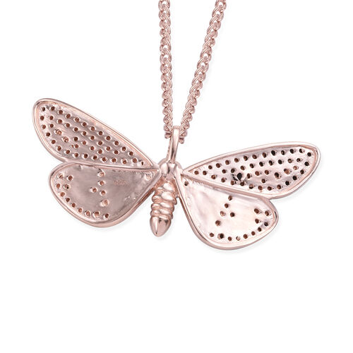 Boi Ploi Black Spinel (Rnd) Enameled Butterfly Pendant With Chain (Size 20) in Rose Gold and Black Overlay Sterling Silver 1.500 Ct, Silver wt 6.59 Gms.