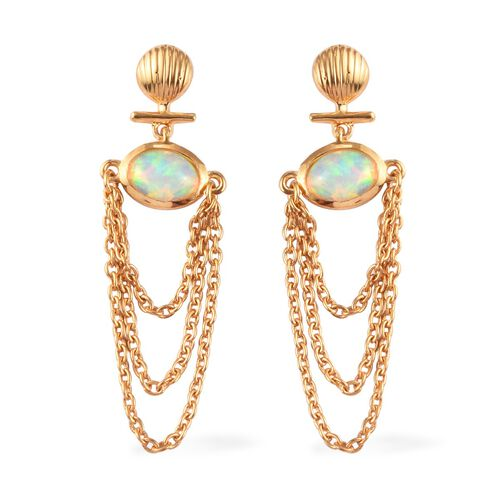 Ethiopian Welo Opal Dangling Earrings (with Push Back) in 14K Gold Overlay Sterling Silver 1.10 Ct.