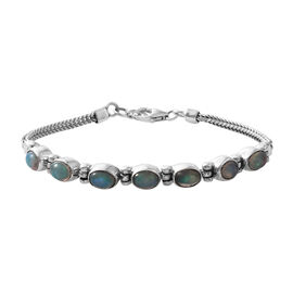 Hand Crafted Ethiopian Welo Opal (Ovl) Foxtail Chain Bracelet (Size 7.5) in Sterling Silver 3.570  C