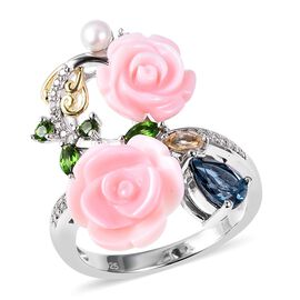 Jardin Collection - Pink Mother of Pearl, Freshwater Pearl, Russian Diopside, London Blue Topaz, Cit