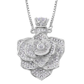 ELANZA Simulated White Diamond (Rnd) Adjustable Flower Necklace (Size 16 to 30) in Rhodium Plated Sterling Silver, Silver wt 17.17 Gms. Number of Simulated Diamonds 150