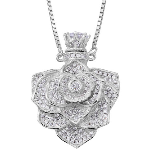 ELANZA Simulated White Diamond (Rnd) Adjustable Flower Necklace (Size 16 to 30) in Rhodium Plated St