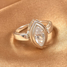 J Francis 2 in 1 Sterling Silver Ring & Pendant Made with SWAROVSKI ZIRCONIA 1.65 Ct.