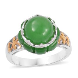 Green Jade (Rnd 4.75 Ct), Natural White Cambodian Zircon Ring in Rhodium and Gold Overlay Sterling Silver 8.310 Ct.