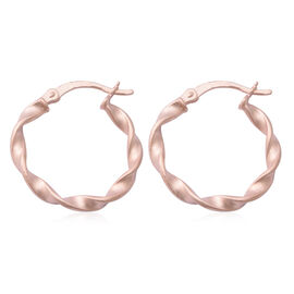 NY Close Out Deal - Rose Gold Overlay Sterling Silver Hoop Earrings (with Clasp)