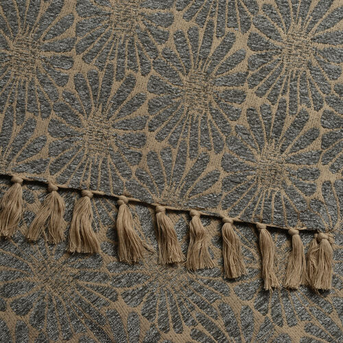 King Size Daisy Jacquard Woven Cotton Chenille Bedspread in Beige and Light Blue Colour (260x240 cm)