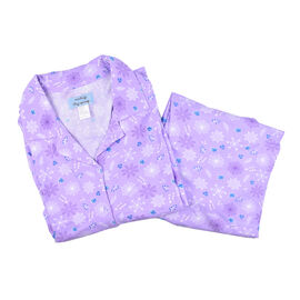 Amanda Paige Sleepwear Lilac Soft and Comfortable Floral Pattern Knit Pyjama Set with Notch Collar a