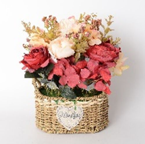 Home Decor Pink and White Rose with Cane Basket (Size 35 Cm)