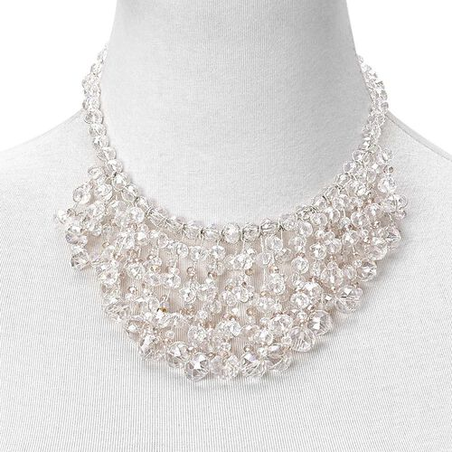Simulated White and Champagne Diamond Waterfall Necklace (Size 18 with 3 inch Extender) in Silver Tone