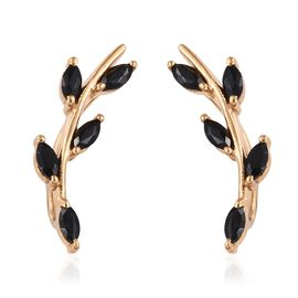 Thai Black Spinel (1.50 Ct) 14K Gold Overlay Sterling Silver Earring  1.000  Ct.