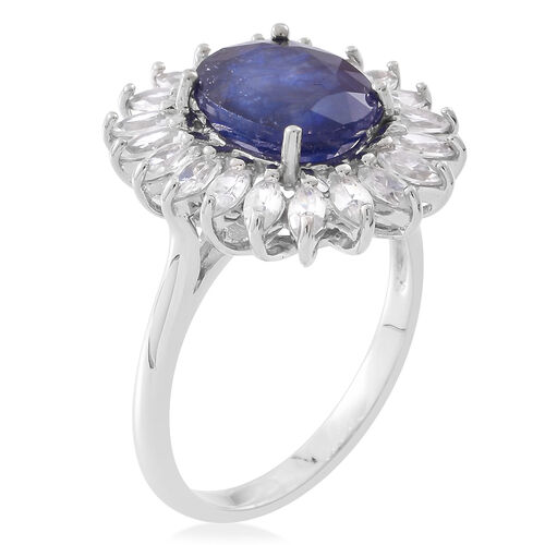 Rare Size Kanchanaburi Blue Sapphire (Ovl 5.25 Ct), Natural White Cambodian Zircon Ring in Rhodium Plated Sterling Silver 7.250 Ct.