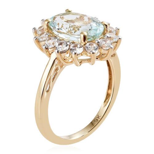 9K Yellow Gold AA Espirito Santo Aquamarine (Ovl 2.500 Ct), Natural Cambodian Zircon Floral Ring 4.000 Ct.