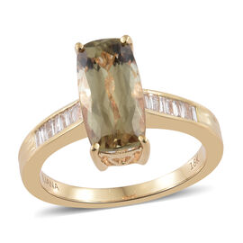 Collectors Edition- ILIANA 18K Yellow Gold AAA Turkizite (Cush) and Diamond (SI/G-H) Ring 3.000 Ct.