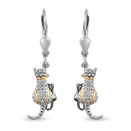 Diamond (Rnd) Cat Hook Earrings in Platinum Overlay Sterling Silver with Black and Yellow Gold  Plat