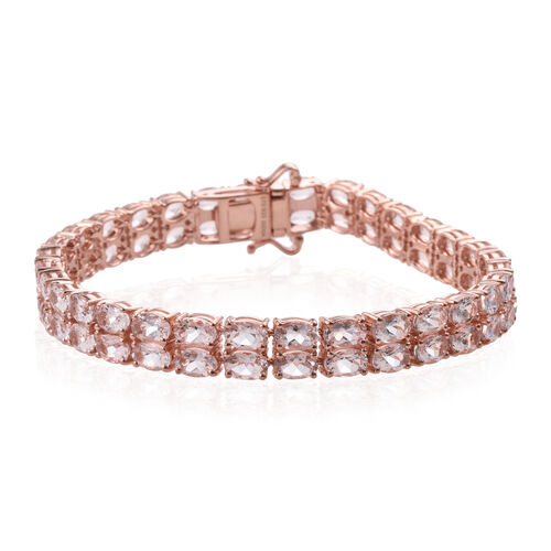Limited Available- Marropino Pink  Morganite (Ovl) Bracelet (Size 8) in Rose Gold Plated Sterling Silver 20.128 Ct. Silver wt 19.00 Gms