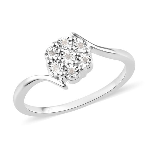 Diamond Floral Ring in Sterling Silver
