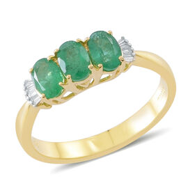 ILIANA 1.3 Ct AAAA Zambian Emerald and Diamond 3 Stone Design Ring in 18K Gold 3.87 Grams