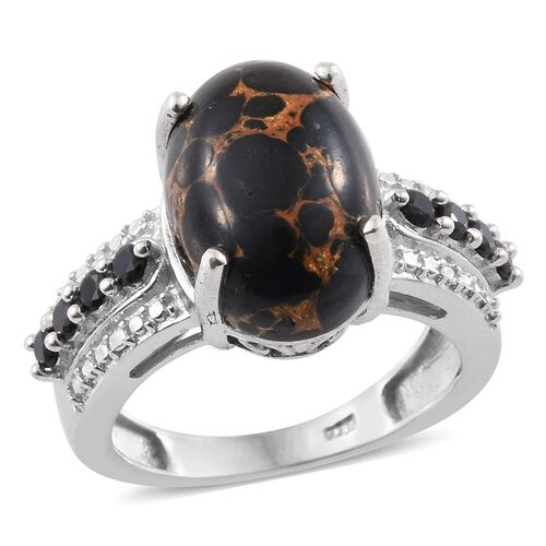 Arizona Mojave Black Turquoise (Ovl 6.00 Ct), Boi Ploi Black Spinel Ring in Platinum Overlay Sterlin