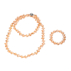 2 Piece Set -  Simulated Champagne AB Crystal Necklace (Size 35 with Magnetic Lock) and Bracelet (Si