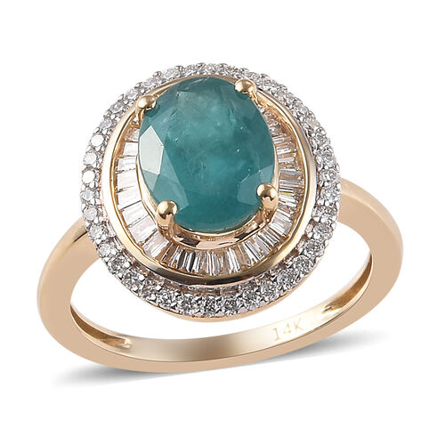 2.50 Ct AAAA Grandidierite and Diamond Double Halo Ring in 14K Yellow Gold 3.10 Grams I2 GH