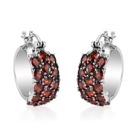 Simulated Garnet Hoop Earrings (with Clasp) in Stainless Steel