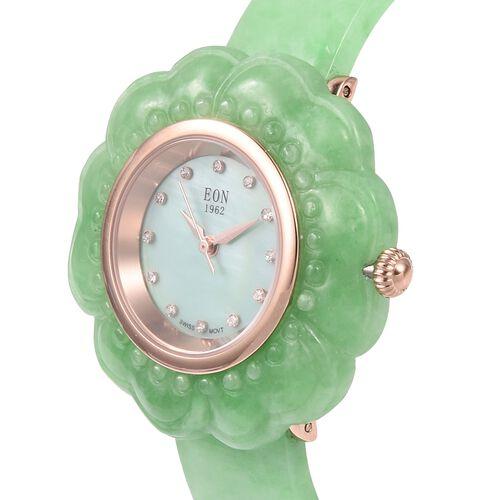 EON 1962 Green Jade MOP Swiss Movement Water Resistant Watch. Total Ct Wt 116 Cts